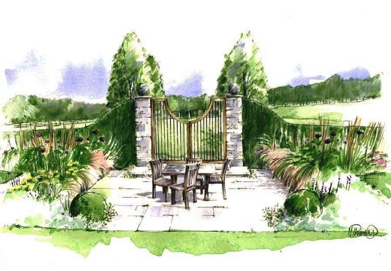 Rural garden illustration society of architectural for Garden design ideas rhs