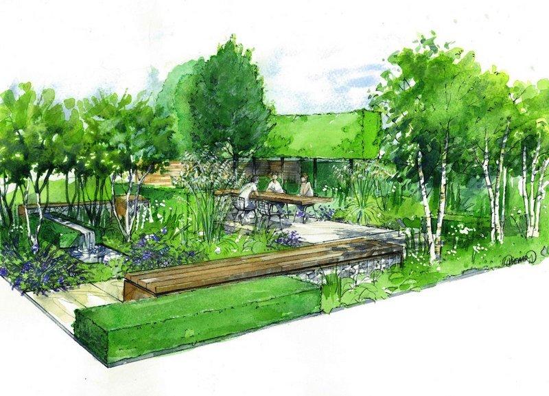 Hampton court 2014 watercolour society of architectural for Garden design 2014