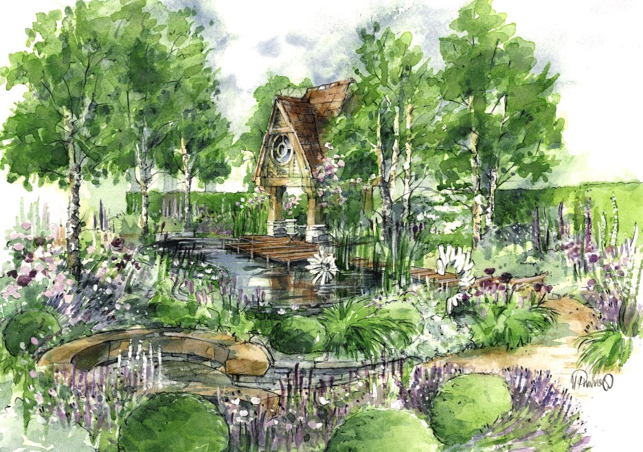Helen thomas society of architectural illustration for Mg garden designs